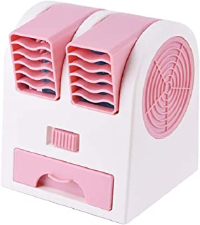 HUI JIN Mini aire acondicionado mini refrigerador de aire acondicionado humidificador mesa purificador USB ventilador compacto evaporativo ventilador de escritorio color rosa