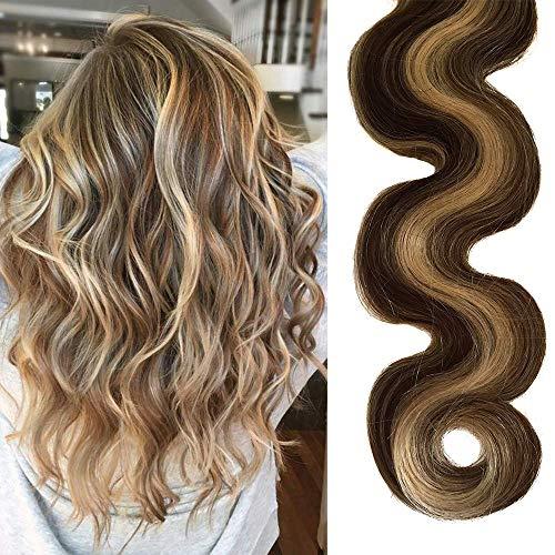 22 Pouces Longs clips bouclés dans les extensions de cheveux brun moyen avec Bleach Blonde Lowlights 70grams 7pcs agrafe douce de vague de corps de Bl