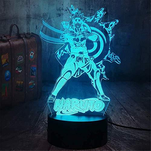 Uzumaki Naruto - Lámpara de mesa con interruptor táctil 3D, función de control remoto, decoración de dormitorio infantil, regalo de cumpleaños personalizado para niño