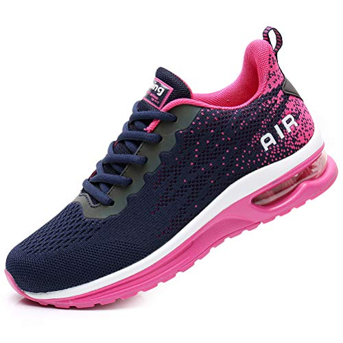 FLARUT Scarpe da Ginnastica Corsa Sportive Fitness Donna Running Sneakers Basse Interior Air Casual all'Aperto(Blu Rosa,41)