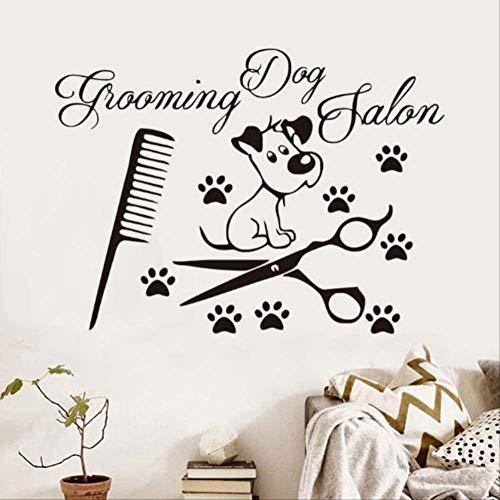 Pegatinas De Pared Peluquería Canina Salón Pet Shop Vinilo Diy Vinilo Decorativo 81X58C M