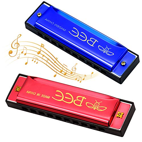 Winfred Blues Harmonica, Armónica, Armónica para Niños, Infantil Harmonica de 10 Agujeros 20 Tonos para Principiantes Clave de C, Regalo para Principiantes y Niños, Azul y Rojo