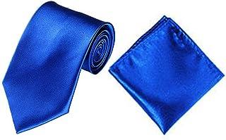 Men Satin Slim Skinny 2'' (5cm) Necktie Pocket Square Set (Royal Blue)