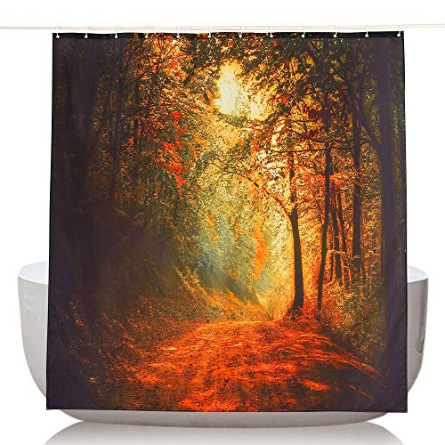 Topmail Tenda Doccia con 12 Ganci Impermeabile Tenda per Vasca da Bagno Antimuffa in Poliestere, Strada Foresta della Sera Arancione 180x200cm