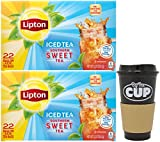 Lipton Southern Sweet Tea, Gallon-Size Tea Bags, 22 Count Box (Pack of 2) with By The Cup To Go Cup