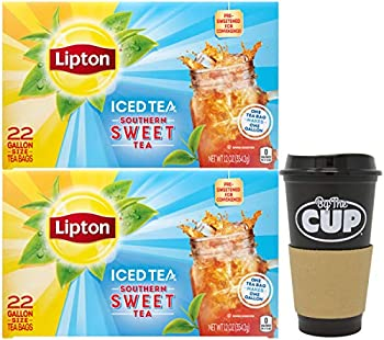 Lipton Southern Sweet Tea Gallon-Size Tea Bags 22 Count Box  Pack of 2  with By The Cup To Go Cup