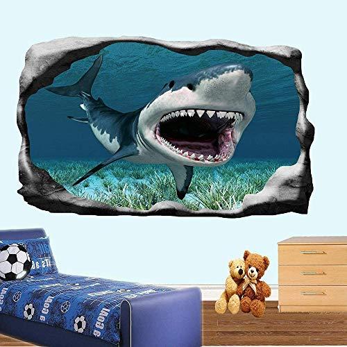 HUJL Wandtattoo Great White Jaws Wall Stickers 3d Art Poster Mural Kids Boys Bedroom