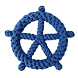 BESTOYARD Molar Toy Dog Chewing Toys Soft Thicken Cotton Rope Ship Wheel Design Educational Cleaning Plaything for Home Pet Supplies (Blue) for Party Supplies