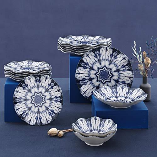 Güral Porselen Juego de 24 piezas moderno Dizayn (azul y blanco).