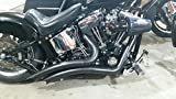 ACCESSORIESHD - Black LSD Big Radius Style STEALTH Exhaust Drag Pipes For Harley Softails And Customs With LSD Transmissions