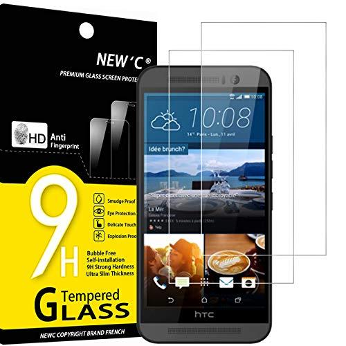 NEW'C 2 Stück, Schutzfolie Panzerglas für HTC One M9, Frei von Kratzern, 9H Festigkeit, HD Bildschirmschutzfolie, 0.33mm Ultra-klar, Ultrawiderstandsfähig