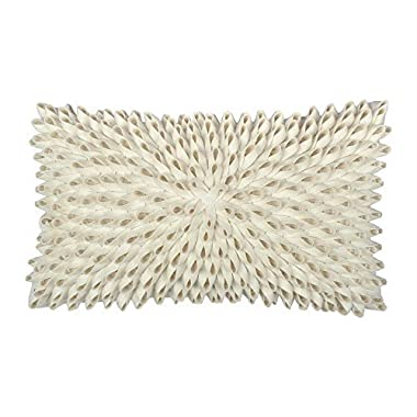 King Rose Handmade 3D Rectangle Decorative Throw Pillow Covers Home Decor Wool Cushion Cases for Bed Living Room 12 x 20 Inches Creamy White