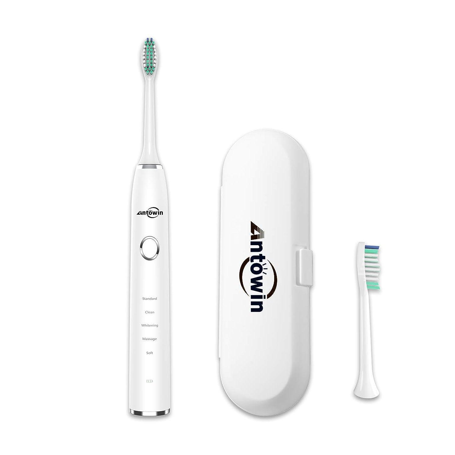型ヤギ価値電動歯ブラシ antowin 5モード IPX8防水ボディ 替え歯ブラシ 2本付属 持ち運び 旅用 2分オートタイマー 歯磨き 小型ケース付属 H9 ホワイト