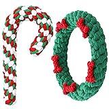 2 Stück Weihnachten Hund Kauspielzeug und Zuckerstange Hunde Seil Spielzeug Haustier Langlebiges Kauspielzeug Welpe Beißspielzeug Kauseile für Kleine und Mittlere Hunde