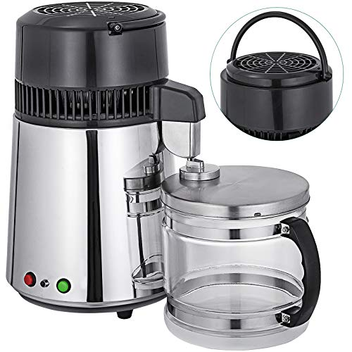 Product Image of the Mophorn Water Distillers Countertop 1.1 Gal/4L, Stainless Steel Purifier Filter Machine 750W, with Handle Food-Grade Outlet Glass Container 110V Silver, Perfect for Home Use