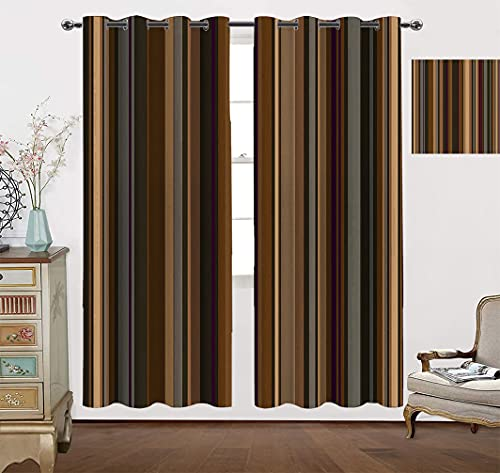 Amazing Decor Vorhang Panels, Retro vertikal gestreifter Hintergrund in verschiedenen Schattierungen von Erdtönen,...