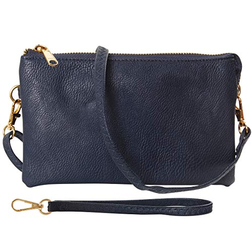 Humble Chic Vegan Leather Wristlet Clutch or Small Purse Crossbody Bag, Includes Adjustable Shoulder and Wrist Straps, Navy Blue, Dark Blue