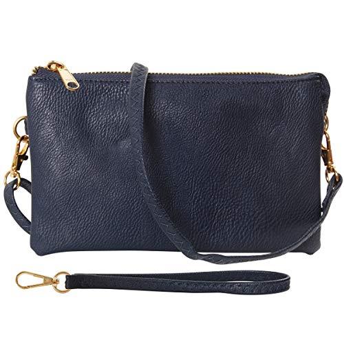 Humble Chic NY Veganes Leder Kleine Umhängetasche Tasche Oder Wristlet Unterarmtasche Handtasche, Inklusive Einstellbarer Schulter- Und Handgelenkbänder, Dunkelblau, Dunkelblau