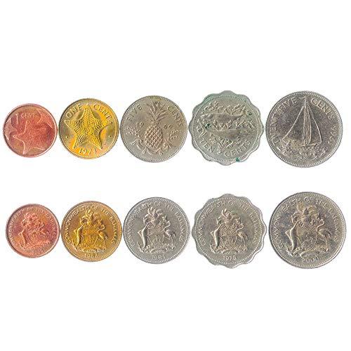 5 Monete Diverse - Vecchia Valuta Estera Delle Bahamas Da Collezione Per Collezionare Libri - Set Di Soldi Unici E Mondiali - Regali Per Collezionisti
