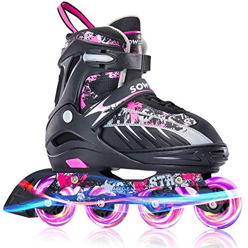 Sowume Adjustable Inline Skates for Girls and Boys, Roller Blades Skates with All Light Up Wheels, Patines para Mujer for Kids and Adults, Men and Women