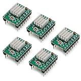 Biqu a4988Stepstickステッパーモーターダイバーモジュール互換性ヒートシンク付きfor 3dプリンタコントローラRamps 1.4(パックof 5点)