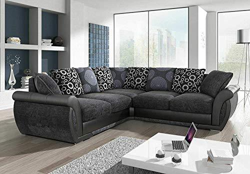 Luxury Sofas & Couches | Sofá esquinero grande | piel sintética y tela de chenilla | cómodos asientos rellenos de espuma | gris y negro | resistente al fuego según las normas británicas