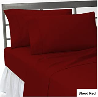 UHCBeddings Twin Size Fitted Sheet {Bottom Sheet} Only - 650 Thread Count 100% Egyptian Cotton - Pieces Sold Separately Set (Burgundy Solid)