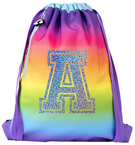 Fringoo - Kids Personalised Drawstring Bag | Perfect School Bag, PE Kit Bag, Swimming Bag or Sports Kit Bag | Includes 1.5cm Straps for Comfort - Rainbow Glitter
