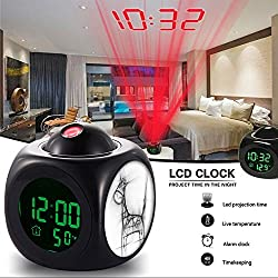 Girlsight Alarm Clock Multi-function Digital LCD Voice Talking LED Projection Wake Up Bedroom with Data and Temperature Wall/Ceiling Projection,owl-188.Giraffe, Animal, Drawing, Pencil