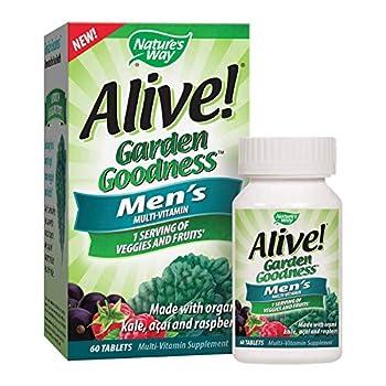 Nature s Way Alive! Garden Goodness Men s Multivitamin Veggie & Fruit Blend  1400mg per serving  Made with Organic Kale 60 Tablets