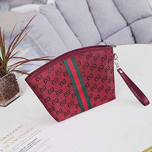 Sac cosmétique femelle de grande capacité portable stockage de cosmétiques sac de maquillage portable simple vin rouge