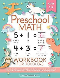 Preschool Math Workbook for Toddlers Ages 2-4: Beginner Math Preschool Learning Book with Number Tracing and Matching Acti...