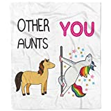 Flannel Blanket-Personalized Fleece Bed Throw Gift for Aunt, Warm Cozy Soft Blanket- 1 Sheet(Unicorn)