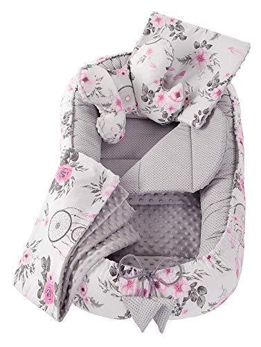 Juego de cuna de 5 piezas incluye nido para bebé de 90x50cm 100% algodón Medi Partners cojín plano manta para gatear cojín de mariposa (Atrapasueños con flores con gris Minky)