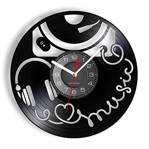 XYVXJ Reloj de Pared Vintage Gramófono Retro y Auriculares Modernos Reloj de Pared Disco de Vinilo Tallado Arte-Decoración