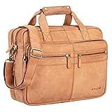 STILORD 'Explorer' Lehrertasche Leder Herren Damen Aktentasche Büro Schulter- oder Umhängetasche für Laptop mit Dreifachtrenner Echt Leder Vintage, Farbe:Cognac - Hellbraun