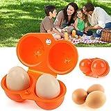 Tragbare Eier-Aufbewahrungsbox – 2 Eier Koffer Tragetablett – Grill- und Picknickzubehör –...