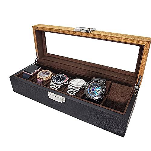 LOSKORIN Uhrenbox 6 Uhren Uhrenaufbewahrung Uhrenkasten Holz mit Glasfenster Geschenk für Herrn Dame, Uhrenaufbewahrungsbox, Uhrenschachtel, Uhrenschatulle