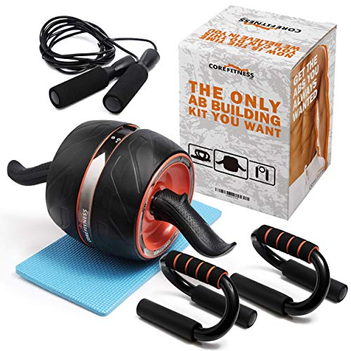 Core Fitness Pro | Ab Carver Pro Roller Wheel kit 4-in-1 Ab Roller Kit Push Up Bars, Jump Rope, and Bonus Knee Pad The Perfect Ab Fitness Work Out Equipment for Abdominal Exercise for Men and Women