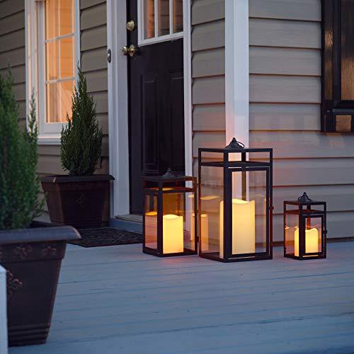 Pebble Lane Living Indoor & Outdoor Hanging Bristle Candle Lanterns, Powder Coated Frame & Tempered Glass Panes, Black, Assorted Set of 3