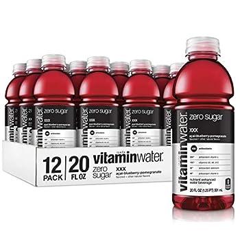 vitaminwater zero xxx açai-blueberry-pomegranate flavored electrolyte enhanced bottled water with vitamin b5 b6 b12 20 fl oz 12 pack