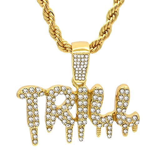 """14k Gold Plated High Fashion Hip Hop Cz Drip TRILL Pendant With 4 mm 24"""" Rope Chain Necklace"""
