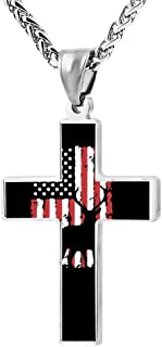 Fashion Deer Flag Cross Necklace Zinc Alloy Pendant Creative Personalized Accessories Prayer Christian 24 Inch