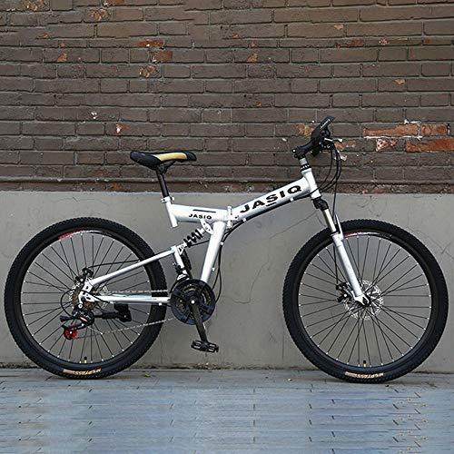 JLFSDB Mountain Bike Bicycle Bicicletta Bici 26 Pollici Bicicletta della Montagna Pieghevole 21 velocità Hardtail Ravine Bike Carbon Steel Frame, Full Suspension e Dual Disc Brake (Color : Silver)