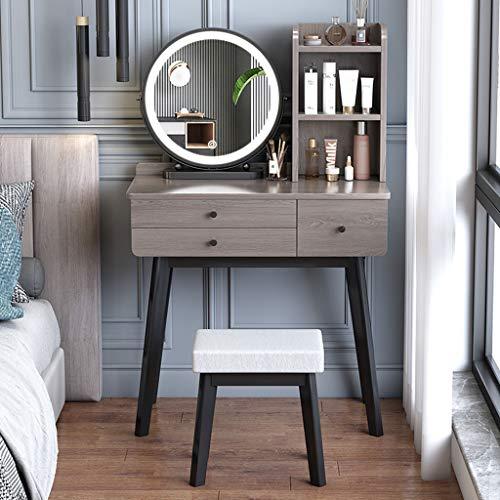 SHENXINCI Schminktisch mit Hocker und Spiegel,Schreibtisch + Regalsystem + Hocker, Hochglanz Kosmetiktisch, Frisierkommode Schminkspiegel,80x45x80cm,Grau/Weiß