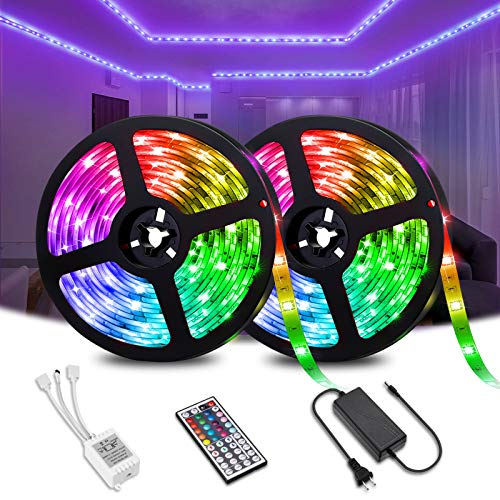 Elfeland LED Strip Lights 32.8FT/10M 300 LEDs SMD5050 RGB Strip Lights IP65 Waterproof Rope Lights Color Changing Flexible Tape Light Kit with 44 Keys IR Remote Controller & 12V 5A Power Supply