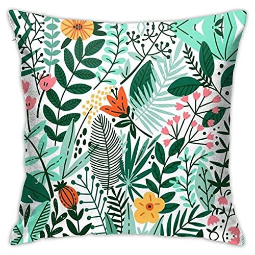 Animal de Dibujos Animados Estilo Hawaiano Flamencos Tropical Hoja Verde Sofá Cojín Decorativo Funda de Almohada Funda de Almohada Poliéster 45 * 45,45x45, Blanco9