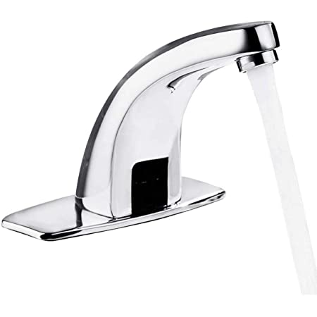 G1//2in Wall Stainless Steel Infrared Induction Sensor Water Faucet Hot and Cold Basin Water Tap for Home Hotel Use Automatic Touchless Bathroom Sink Faucet
