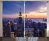 TJFGJ Cortinas De Nueva York, Cortinas De Escena Nocturna De Nueva York, Horizonte De Nueva York Y Rascacielos Cortinas Al Atardecer, for La Decoración De La Habitación Y La Sala(2 Paneles)