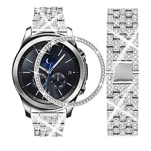DEALELE Bracelet compatible avec Galaxy Watch 46 mm, 22 mm, entièrement diamanté en acier inoxydable avec anneau de lunette de remplacement pour Samsung Gear S3 Frontier/Classic Femme Homme, Argent
